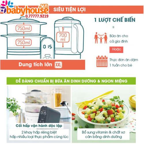 may tiet trung xay hap da nang babymoov nutribaby plus 5 in1 bm14689